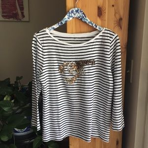 Talbots Striped Lucky Lobster Tee, Size Large